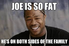 Mass Text Meme - joe is so fat he s on both sides of the family xzibit meme