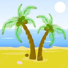 animé la belle plage de palmier u2014 image vectorielle 70989015
