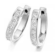 diamond earrings uk the raphael collection 18ct white gold princess cut diamond