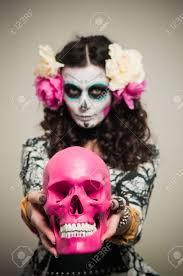Mexican Woman Halloween Costume Woman Halloween Costume Skull Makeup Holding Flowers