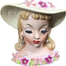 Napco Lady Head Vase 1950 U0027s Napco Lady Head Vase W Flowers U0026 Pearls From Headsupvintage