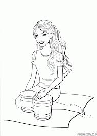 coloring page barbie plays the drums