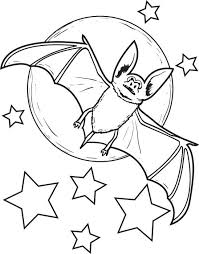 bat coloring pages halloween moon stars coloringstar