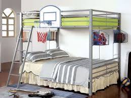athlete full over full bunk bed w basketball hoop kids loft and
