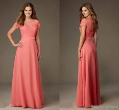 modest designer coral lace bridesmaid formal dresses 2017 with