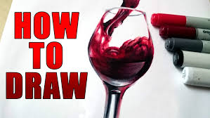 glass of wine how to draw a realistic glass of wine tutorial youtube