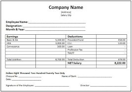 monthly driver salary slip template in excel sheet