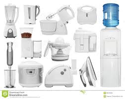 set of different types of kitchen appliances stock photo image