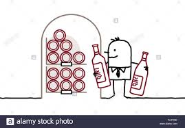 cartoon wine bottle cartoon man and wine cellar stock photo royalty free image