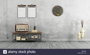 Vintage Living Room by Vintage Living Room With Old Radio On Coffee Table 3d Rendering