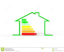 3d illustration of house with energy efficiency symbol stock