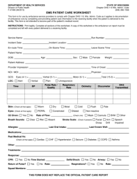 fillable online dhs wisconsin ems patient care worksheet
