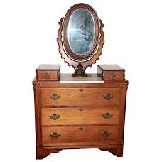 Eastlake Marble Top Bedroom Set 19th Century Victorian Era Marble Top Oak Dresser With Oval Mirror