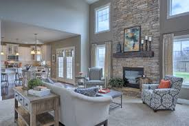 great room with 2 story ceiling gas fireplace with stone surround