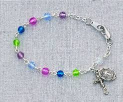 baby rosary bracelet multi color baby rosary bracelet 5 5 the cross and shamrock