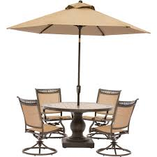Sling Swivel Rocker Patio Chairs by Fontana 5 Piece Outdoor Dining Set With Four Sling Swivel Rockers