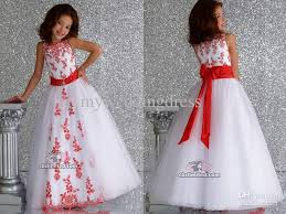 wholesale white organza red applique ball gown flower dresses