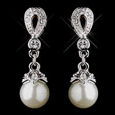 stunning silver ivory drop pearl wedding earrings bridal