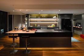 divine bachelor apartment designs with chic kitchen decor in dark