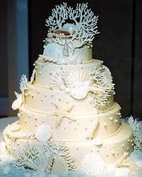 Cake Decorations Beach Theme - beach themed wedding cake with seashells and