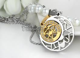 2pcs pair fashion stainless steel sun moon matching puzzle