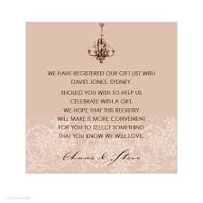 wedding wishes gift registry country invitation wording sles chantilly chandelier latte