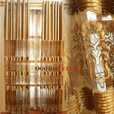 Faux Silk Embroidered Curtains Faux Silk And Polyester Blend Fabric Gold Embroidery Pattern Sheer
