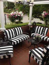 Patio Furniture Cushion Black And White Striped Outdoor Furniture Cushions Traditional