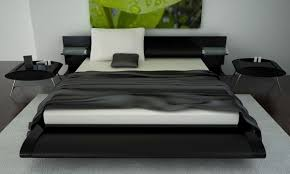 modern bedroom design with black accents platform bed with white