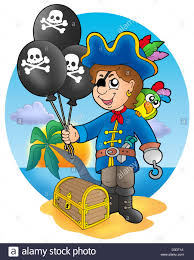 pirate boy with balloons on beach color illustration stock photo
