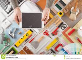 Diy Home Renovation by Home Renovation And Diy App On Mobile Device Stock Photo Image