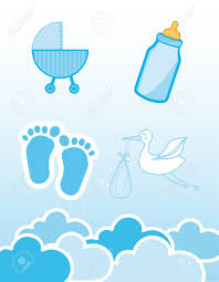 baby shower boy blue icons baby shower boy vector illustration royalty free
