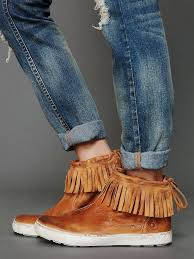 Brown Fringe Ankle Boots Free People 148 Brown Fringe Sneaker Anders Moccasin Leather