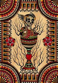 goblet skull by brother greg snake tattoo artwork canvas art print