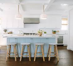 white kitchen island with stools inspiring white kitchen with light blue island home bunch
