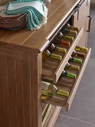 transitional rustic sliding barn door buffet with wine storage by