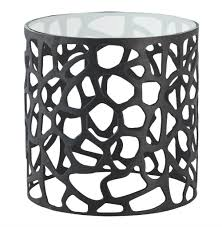 Metal Accent Table Ennis Modern Black Metal Web Glass Side End Table Kathy Kuo Home