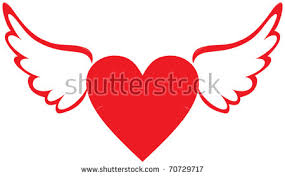 Hearts With Wings - vector background with wings