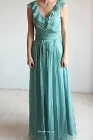 jade green v neck sleeveless vintage chiffon long bridesmaid dress