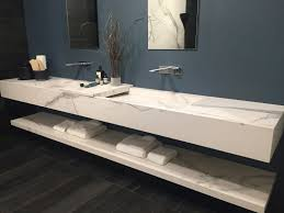 bathroom with carrera marble vanity long home decorating trends