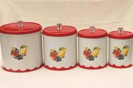 vintage canister set tins w 1950s retro fruit print kitchen