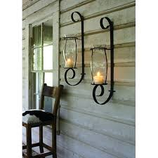 sconce flat iron wall sconce with glass hurricane crystal candle