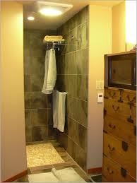 walk in shower no doors towel rack in shower and heat lamp