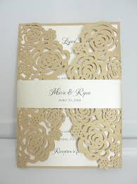 gold wedding invitations laser cut roses wedding invitation