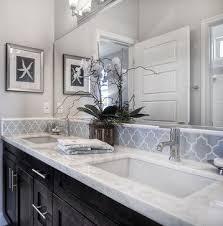 tile backsplash ideas bathroom cabinets light gray walls white counters bathroom