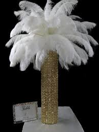 ostrich feather centerpiece gold center of attention with white ostrich feathers houston
