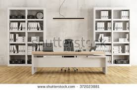 Computer Desk Bookcase Contemporary Office Leather Desk Bookcase 3d Stock Illustration