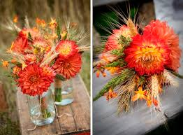 fall wedding bouquets using wheat bouquets for a fall wedding