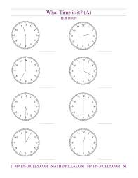 telling time to the half hour worksheets fraction strips worksheets