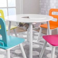 Kids Table And Chairs With Storage Round Storage Table U0026 4 Chair Set Highlighter